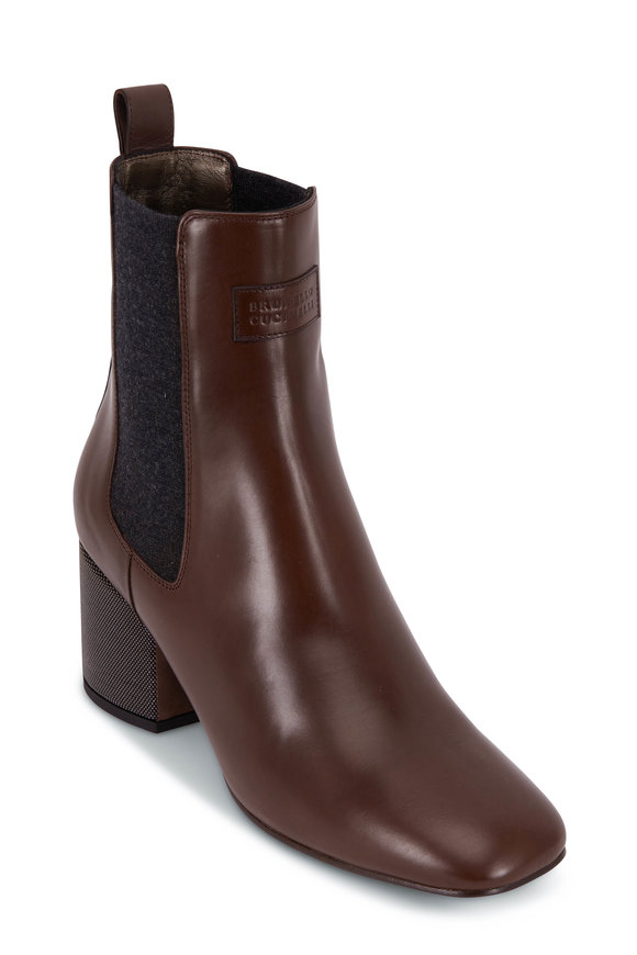 Brunello Cucinelli Fondente Leather Monili Heel City Bootie, 60mm