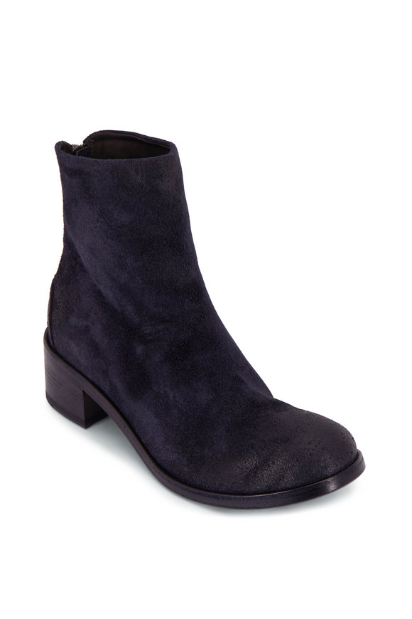 Marsell Blue Suede Back Zip Bootie, 50mm