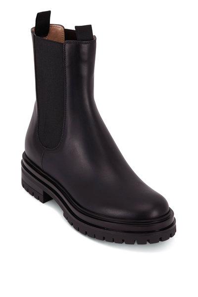 Gianvito Rossi - Chester Black Leather Double Gore Chelsea Boot