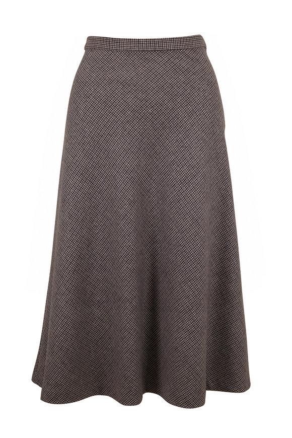 Nili Lotan Alvina Gray Plaid Stretch Wool Skirt