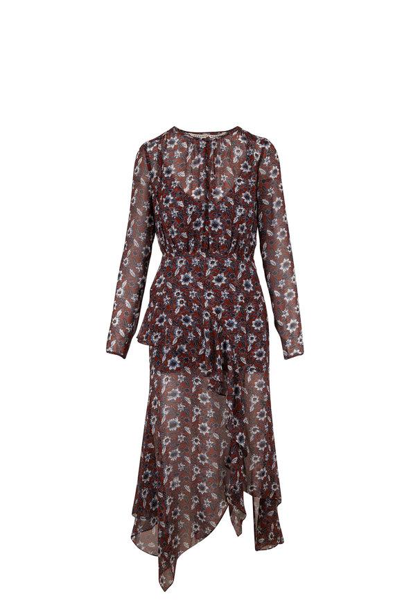 Veronica Beard Sazan Clay Multi Floral Silk Midi Dress