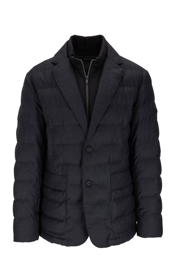 Z Zegna Charcoal Flannel Feather Free Down Jacket