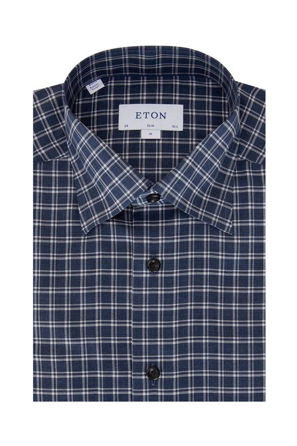 Eton Navy Check Contemporary Fit Sport Shirt