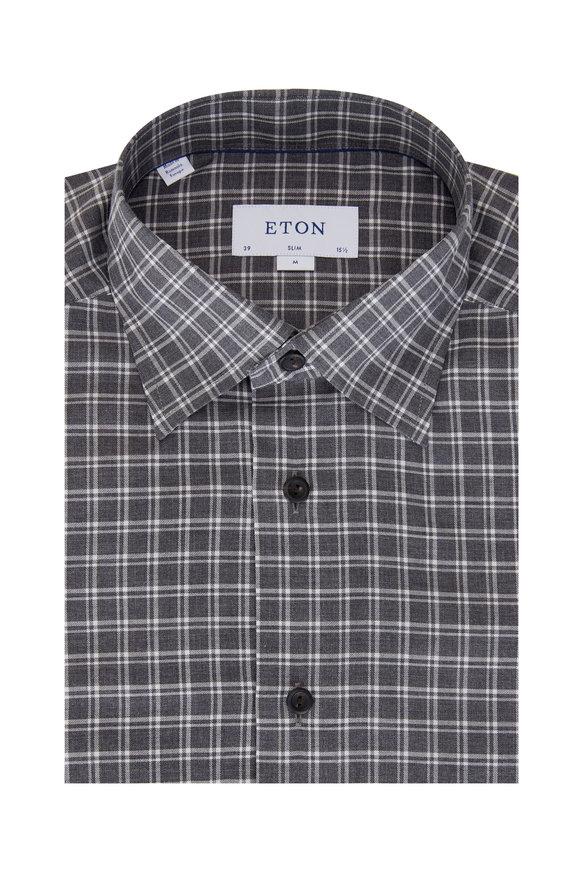 Eton Grey & White Check Contemporary Dress Shirt
