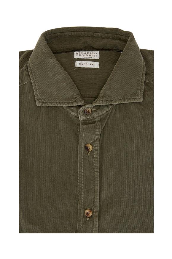 Brunello Cucinelli Olive Fine Corduroy Basic Fit Sport Shirt