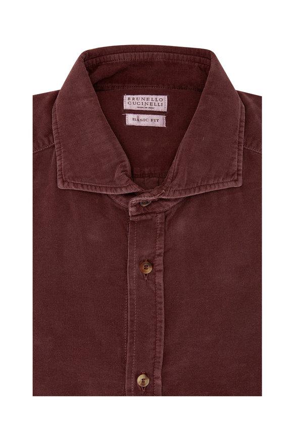 Brunello Cucinelli Burgundy Fine Corduroy Basic Fit Sport Shirt