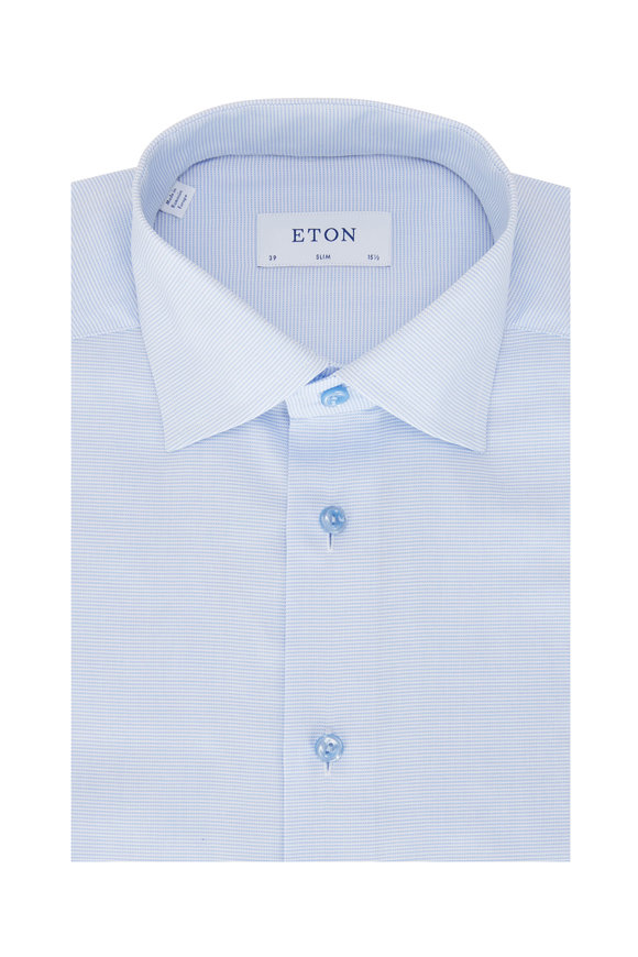 Eton Light Blue Textured Contemporary Fit Dress Shirt