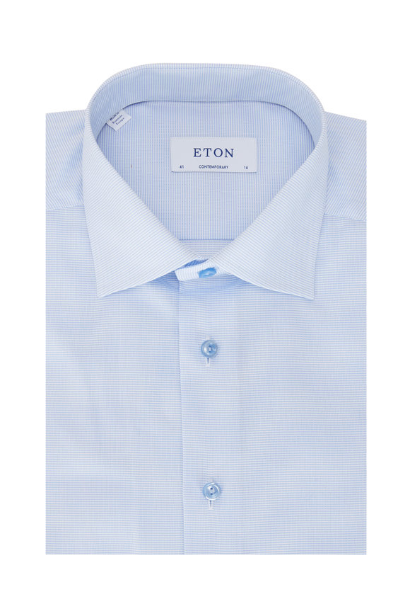 Eton Light Blue Solid Contemporary Fit Dress Shirt