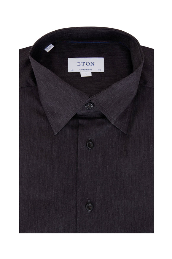 Eton Solid Navy Contemporary Fit Dress Shirt