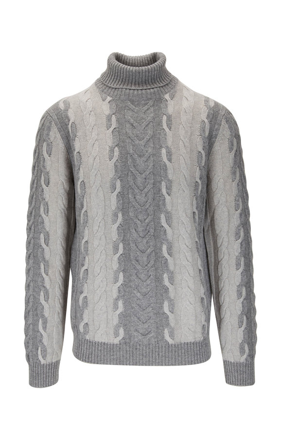 Corneliani Gray Cashmere & Wool Cable Knit Turtleneck