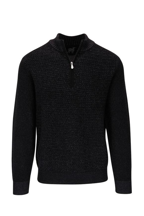 Raffi  Black Basketweave Quarter-Zip Pullover