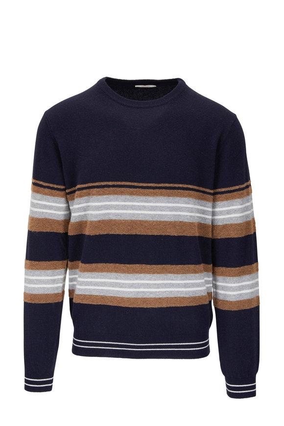 Fradi Navy Multi Stripe Crewneck Sweater