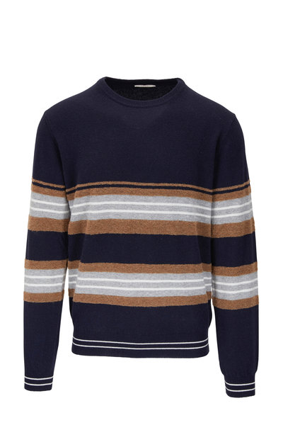 Fradi - Navy Multi Stripe Crewneck Sweater