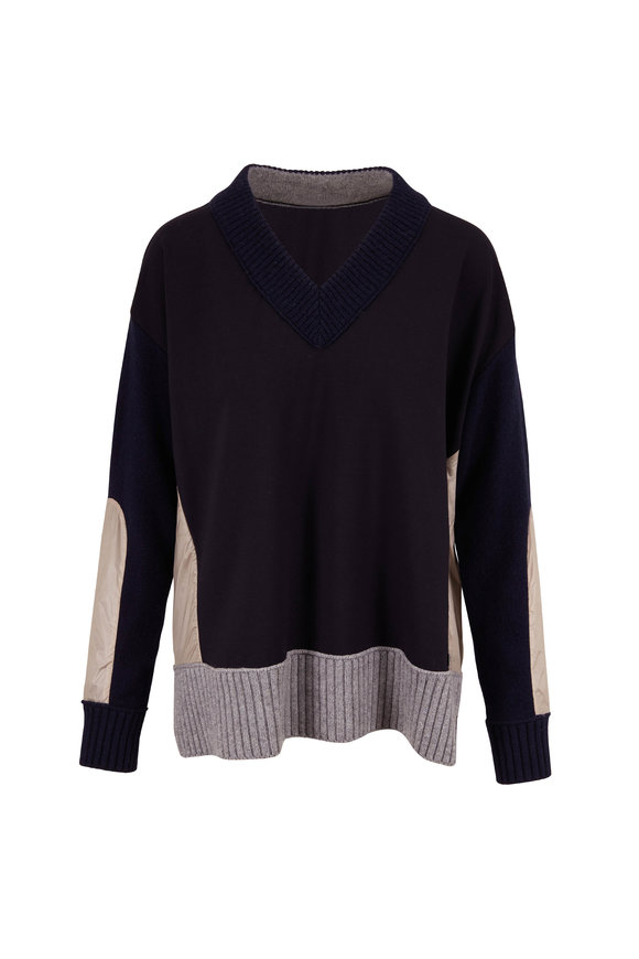 Bogner Tyra Navy Mixed Media V-Neck Sweater