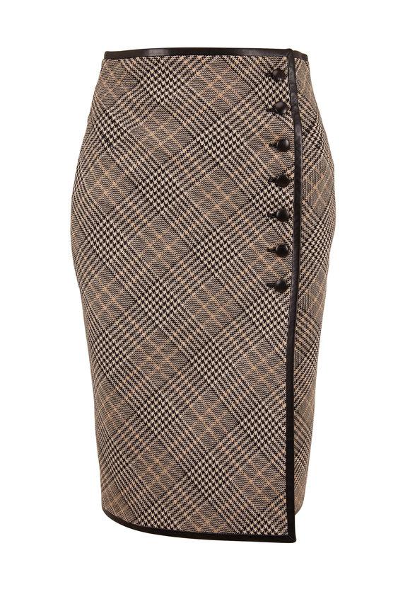 Saint Laurent Black & Tan Plaid Leather Trim Front Button Skirt