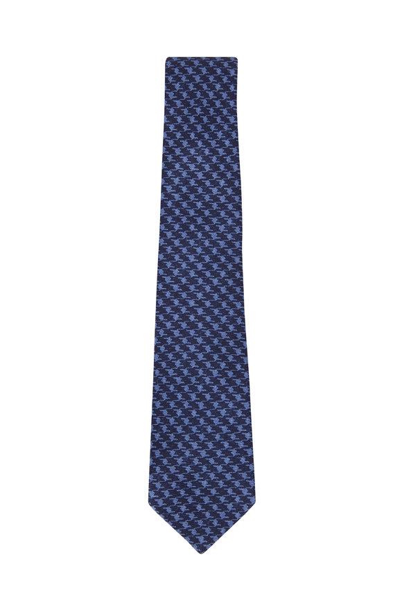 Kiton Blue & Light Blue Houndstooth Silk Necktie