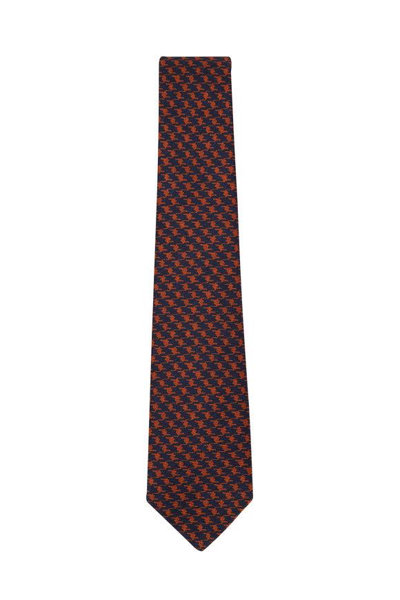 Kiton Navy & Orange Houndstooth Silk Necktie