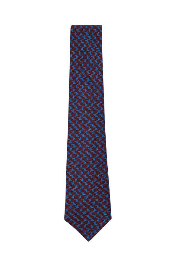 Kiton Red & Light Blue Houndstooth Silk Necktie