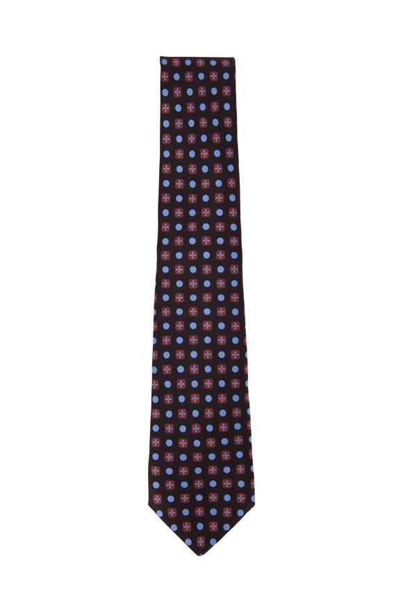 Kiton Navy, Light Blue, & Orange Pattern Silk Necktie