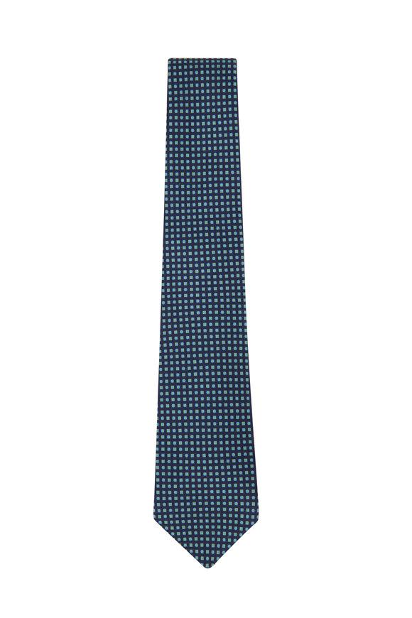 Kiton Navy & Light Green Mini Tiles Silk Necktie