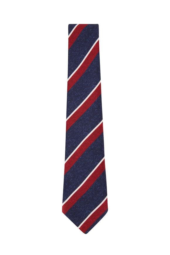 Kiton Blue & Red Stripe Silk Necktie