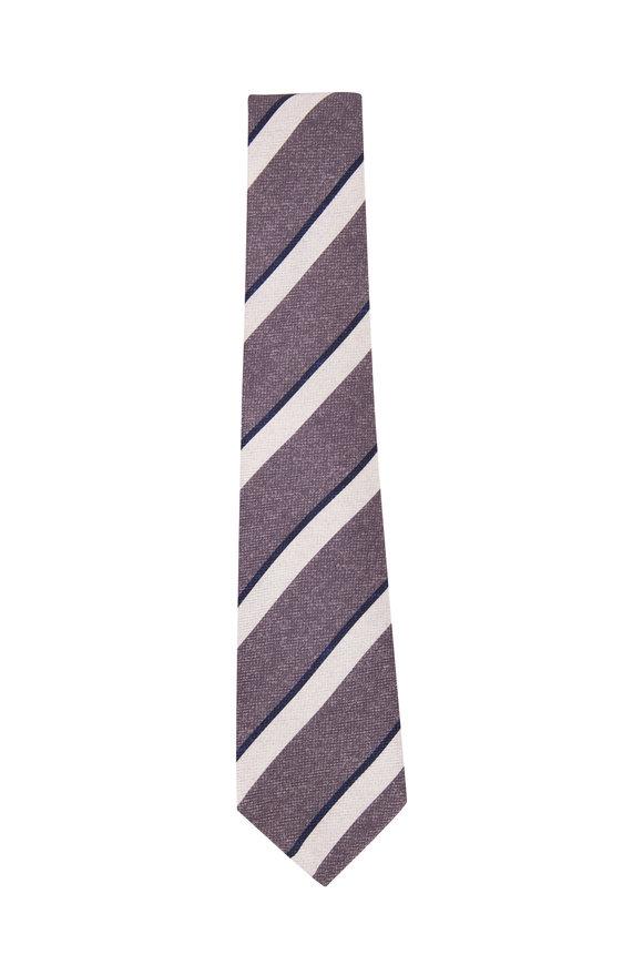 Kiton Grey & White Stripes Silk Necktie