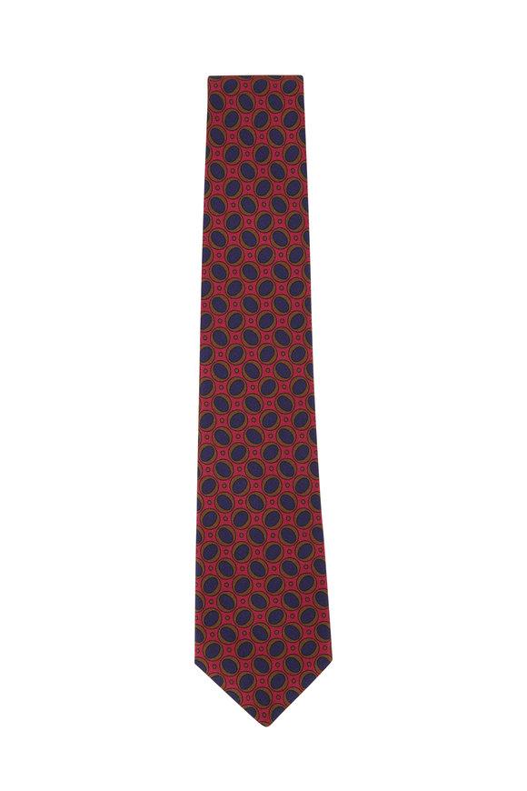 Kiton Red & Blue Ovals Silk Necktie