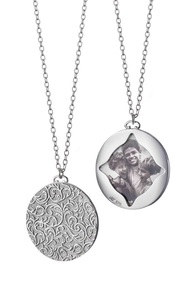 Stearling Silver Vine Picture Frame Pendant