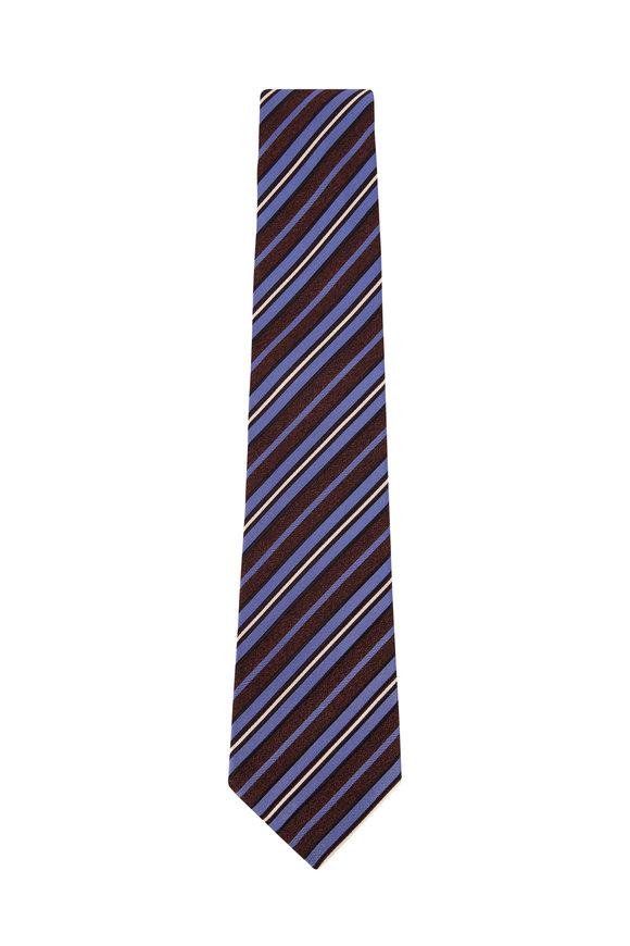 Kiton Blue & Brown Stripes Silk Necktie