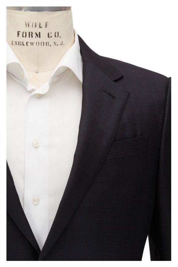 Ermenegildo Zegna Charcoal Tonal Plaid Trofeo Wool Suit