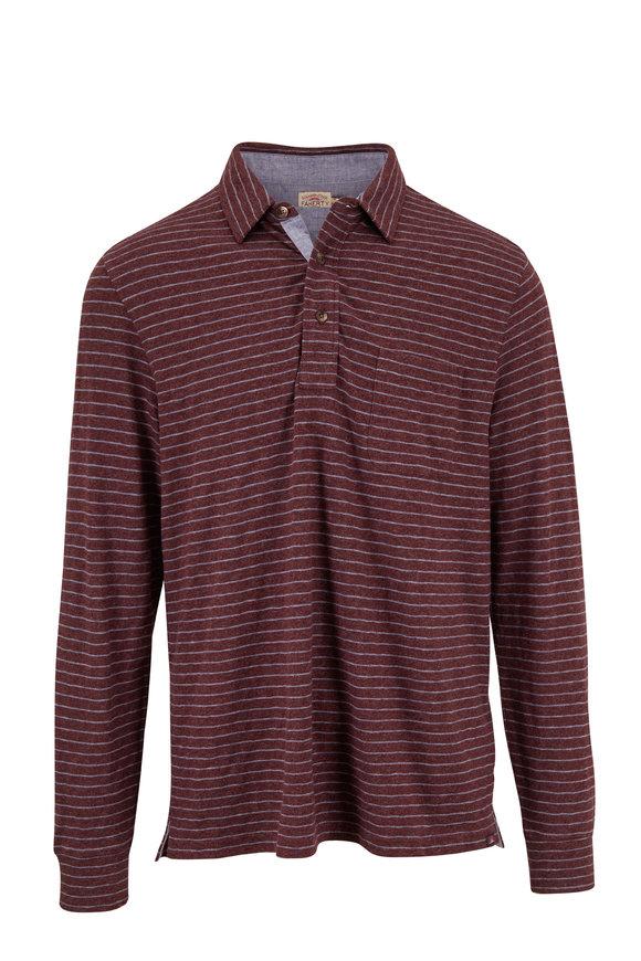 Faherty Brand Luxe Merlot & Flint Stripe Long Sleeve Polo
