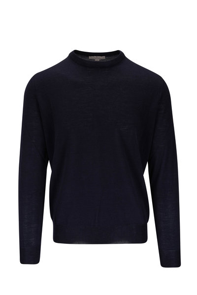 Canali - Navy Extrafine Merino Wool Crewneck Pullover