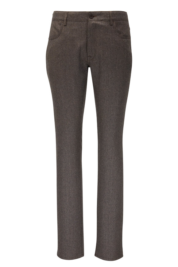 Canali Light Brown Wool Five Pocket Pant