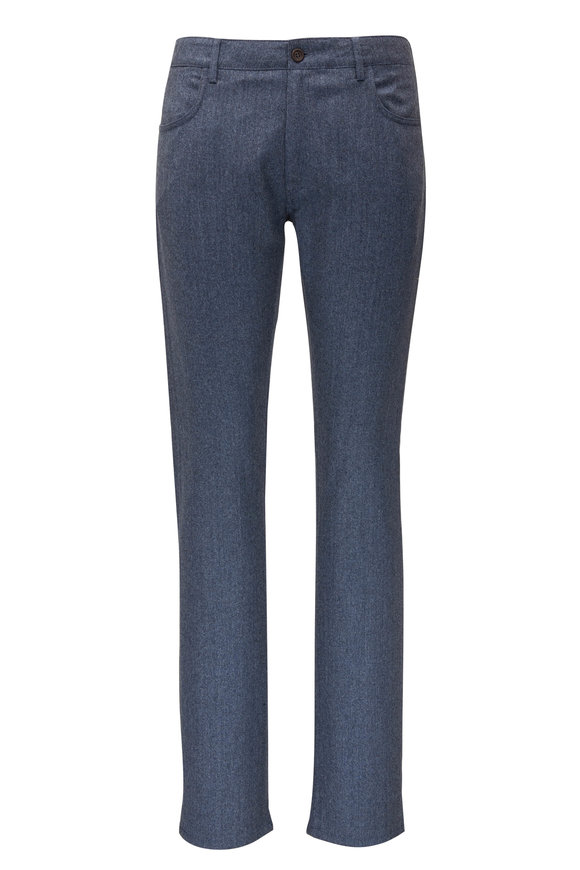 Canali Blue Wool Five Pocket Pant