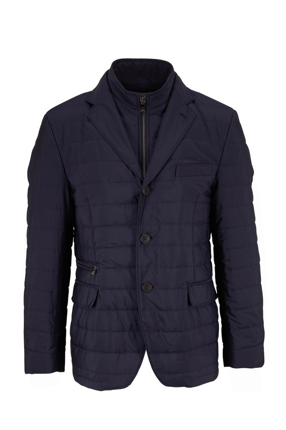 Corneliani Milestones Navy Quilted Dickey Jacket