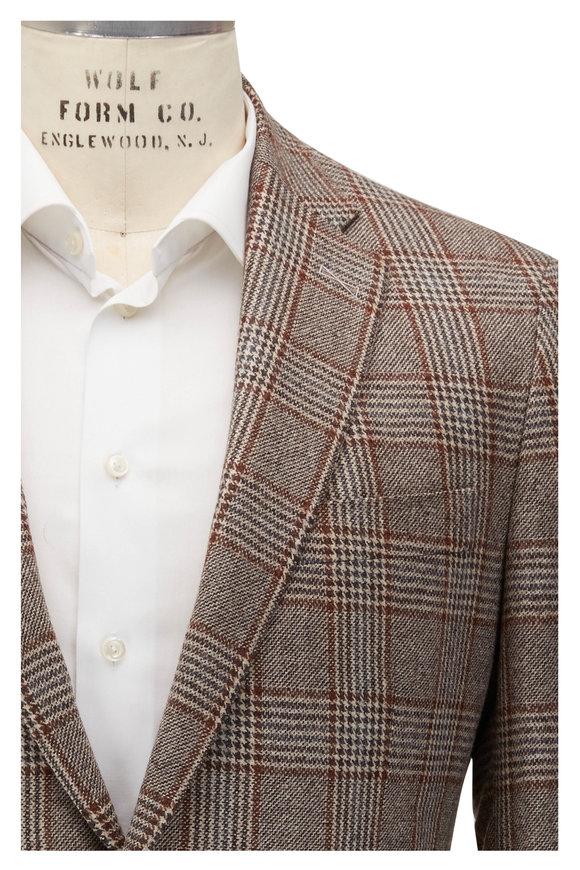 Atelier Munro Tan & Brown Glencheck Wool Sportcoat