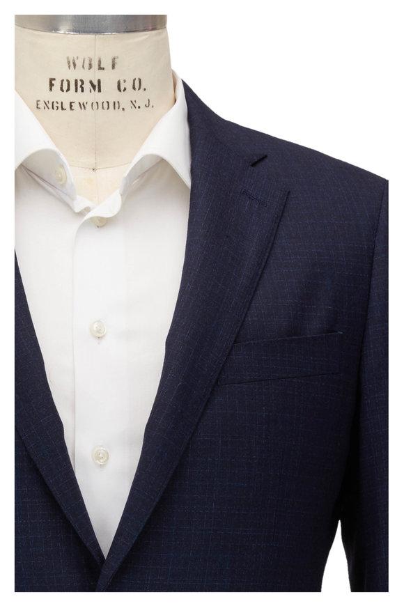 Atelier Munro Navy Blue Plaid Stretch Wool Suit