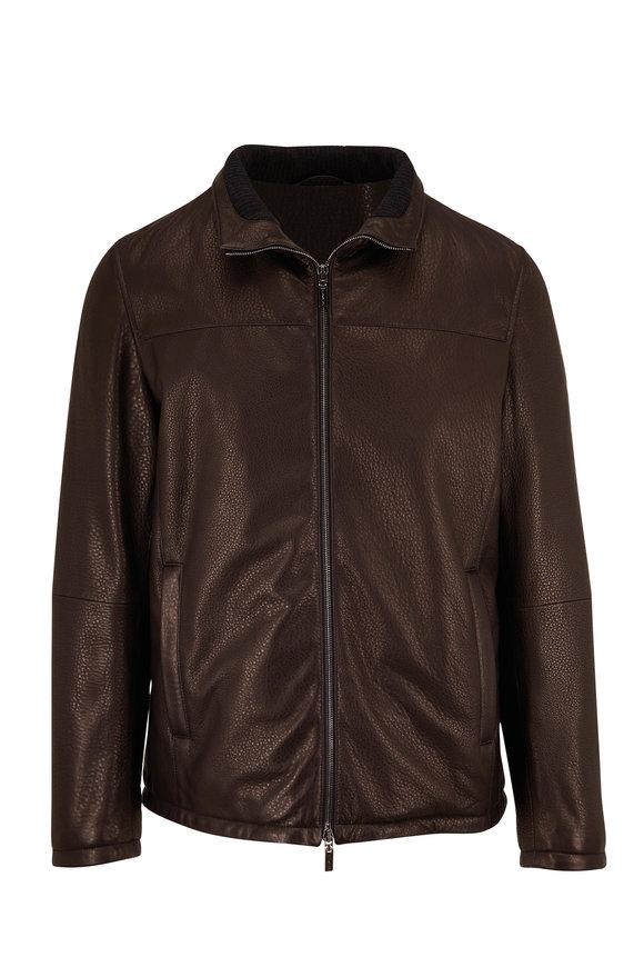 Gimos Black Pebbled Leather Down Jacket