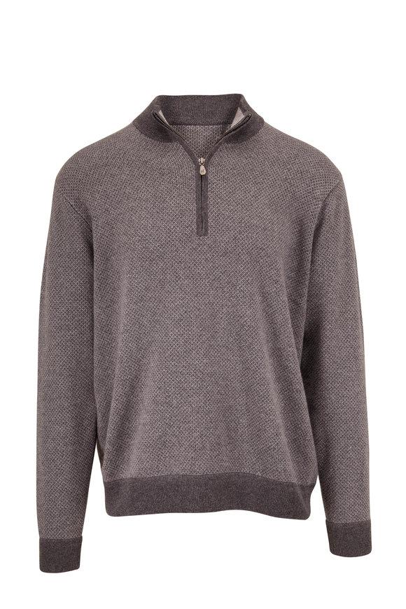 Raffi  Charcoal Gray Jacquard Quarter-Zip Pullover