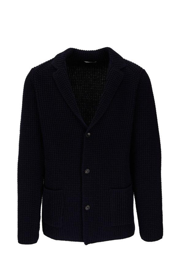 Fradi Navy Extrafine Merino Wool Knit Cardigan Jacket