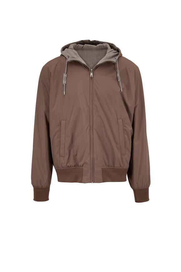 Ralph Lauren Taupe & Light Grey Hooded Reversible Jacket