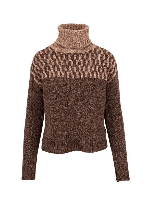 Veronica Beard Bia Brown Multi Turtleneck Sweater