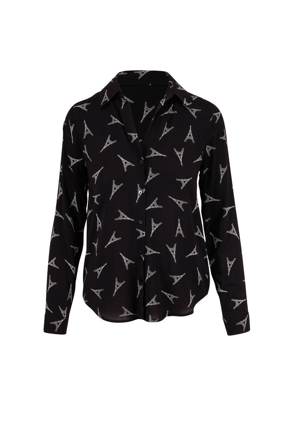 L'Agence Holly Black Eiffel Tower Print Button Down Blouse