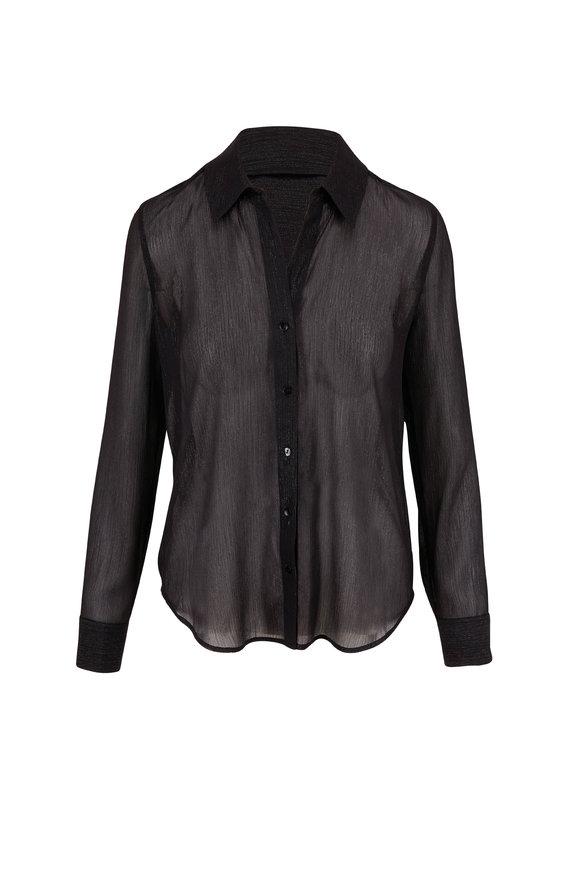 L'Agence Florence Semi-Sheer Black Blouse