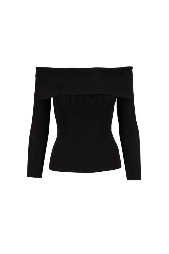 L'Agence Skye Black Knit Off-The-Shoulder Top