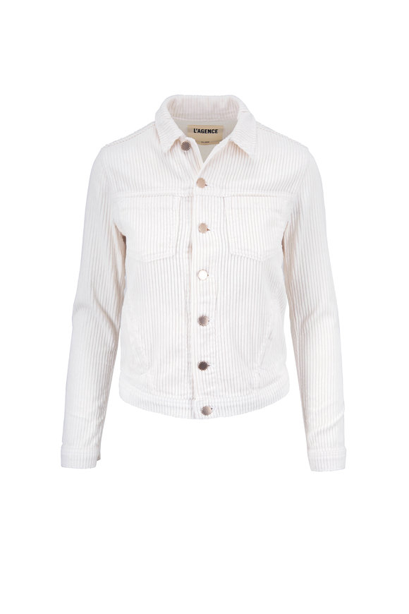 L'Agence Celine Vintage White Slim Fit Corduroy Jacket