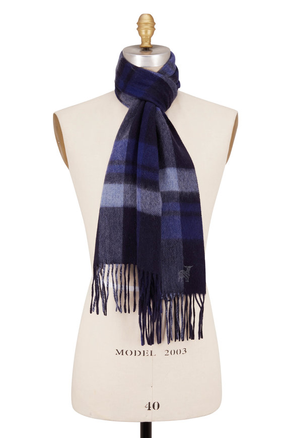 Raffi  Navy Blue Plaid Wool Fringe Scarf