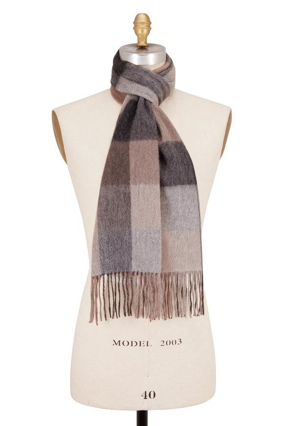 Raffi  Taupe Plaid Wool Fringe Scarf