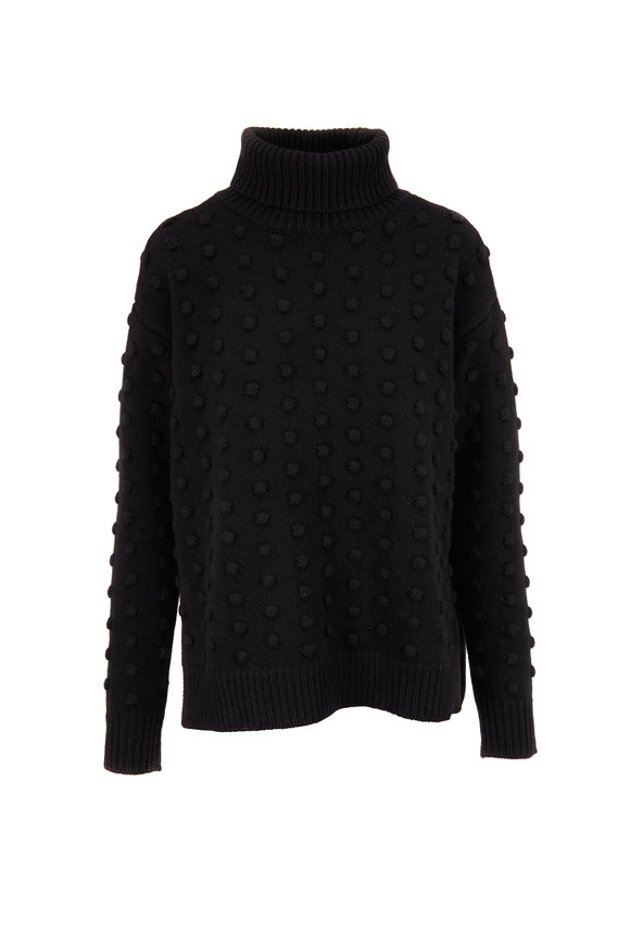 Lela Rose Black Dotted Knit Turtleneck