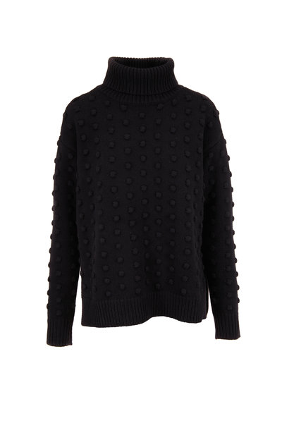 Lela Rose - Black Dotted Knit Turtleneck